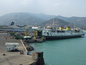 Transport in Indonesia - Port of Merak, the main port from Banten, Java to Lampung, Sumatera.