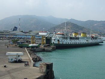 English: KMP SMS Kartanegara, Port of Merak Ex...