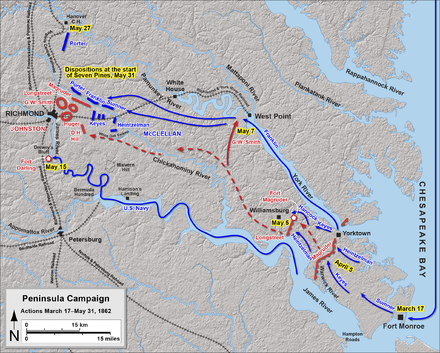 Peninsula Campaign, map of events up to the Battle of Seven Pines Peninsula Campaign March 17 - May 31, 1862.png