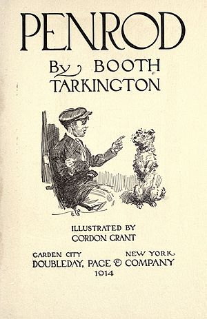 Booth Tarkington - Cover page for Penrod, depicting Penrod Schofield and his dog Duke (1914)