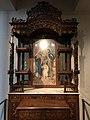 Peranakan catholic family altar with taoist engravings teakwood early 1900s IMG 9766 singapore paranakan museum.jpg