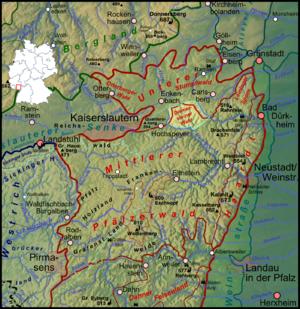 Diemerstein Forest - Diemerstein Forest (orange) within the Palatine Forest