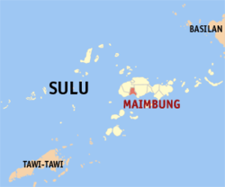 Map o Sulu showin the location o Maimbung