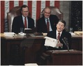 Photograph of President Reagan giving the State of the Union Address to Congress - NARA - 198590.tif