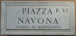 Sign for the Piazza Navona, Rome Italy