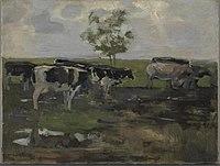 Piet Mondriaan - Cows in a meadow with tree - 0334236 - Kunstmuseum Den Haag.jpg