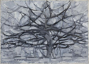 Evening; Red Tree - Image: Piet Mondrian, 1911, Gray Tree (De grijze boom), oil on canvas, 79.7 x 109.1 cm, Gemeentemuseum Den Haag, Netherlands