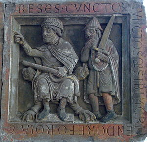 Bernold - A relief from Saint Peters (St Pieterskerk), Utrecht, founded by Bernold in 1039.
