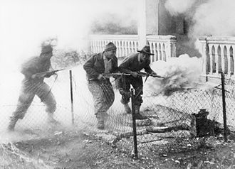 1948 Palestine war - Palmach soldiers attack the San Simon monastery in Katamon, Jerusalem, April 1948 (battle reconstruction)