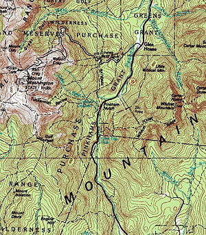 Pinkham Notch - The steep, glaciated walls of Pinkham Notch can be seen in this topographic map.