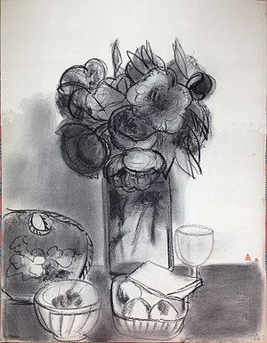 Charcoal (art) - Image: Pivoines 1989