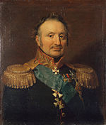 Painting shows a balding man with a moustache. He wears a very dark military uniform with gold epaulettes and several decorations.