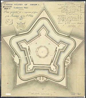 Battle of Forts Jackson and St. Philip - An 1817 plan for the fort that would become Fort Jackson in support of Fort St. Philip.