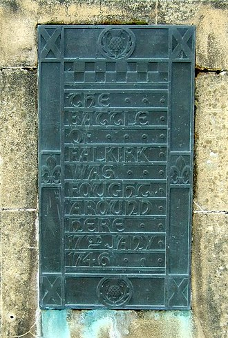 Battle of Falkirk Muir - Monument plaque at the site of the battle