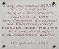 Plaque quai Saint-Vincent en hommage à Fernand Rude.JPG