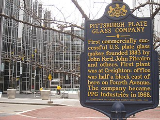 PPG Industries - Pittsburgh Plate Glass Company plaque in the plaza at PPG Place