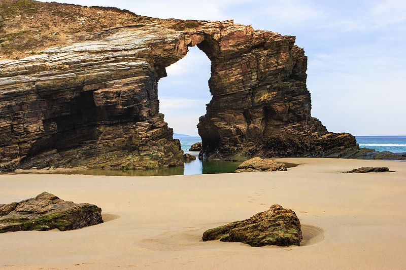 Catedrais Beach in Galicia, Spain at low tide.