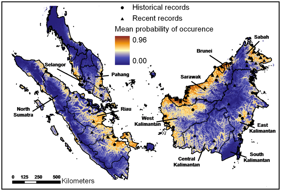 Map showing Peninsular Malaysia, Sumatra and Borneo