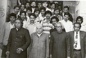 Abdul Qavi Desnavi - From left:- Kaifi Azmi, Abdul Qavi Desnavi, Fakhruddin (Secretary-SES), Afaq Husain Siddiqui