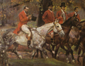 Polowanie par force u Józefa Potockiego w Antoninach - fr. ze Zdzisławem i Juliuszem Tarnowskimi - W. Kossak, 1909, ol. pł.png