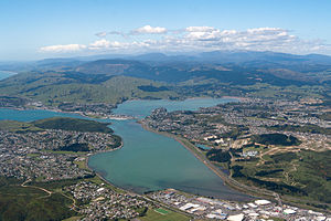 State planning in Porirua - Aerial view of Porirua Harbour encompassing several State housing suburbs