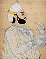 Portrait of a king holding a flower. Coloured ink drawing. Wellcome V0045232.jpg