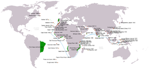 Commercial Revolution - Portuguese discoveries and explorations from 1415 to 1543: first arrival places and dates; main Portuguese spice trade routes in the Indian Ocean (in blue); territories of the Portuguese Empire under the rule of King John III (1521–1557) (in green).