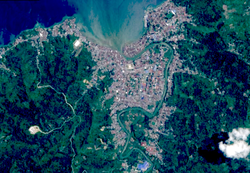 Sentinel-2 L1C satellite image, featuring the city of Poso in April 2018