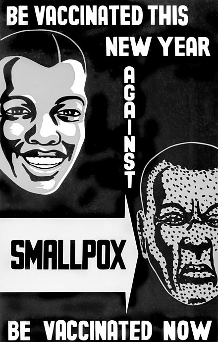 A poster from Lagos, Nigeria, to promote the worldwide eradication of smallpox.[77]