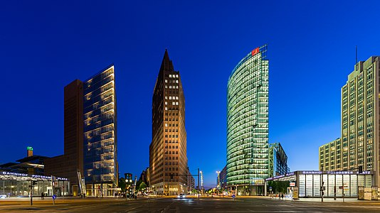 Skyscapers at Potsdamer Platz, Berlin at the end of the blue hour