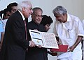 Pranab Mukherjee releasing the postage stamp at the inauguration of Quasquicentennial (125th Anniversary) Celebrations of Malayala Manorama, in Kottayam.jpg
