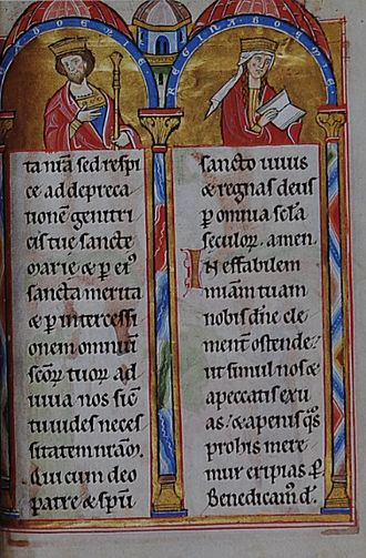 Ottokar I of Bohemia - Ottokar and Constance, from the Landgrafenpsalter  (1211–13)