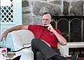 President George H. W. Bush speaks on the telephone to Egyptian President Hosni Mubarak via telphone.jpg