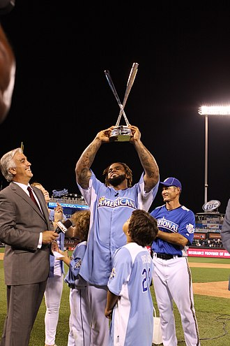 Home Run Derby - Prince Fielder accepting his second trophy in 2012