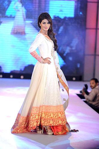 "Fashion in India - Floor-length Anarkali- style ""churidaar-kurta"" worn by actress Priyanka Chopra"