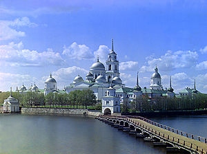Nilov Monastery on Stolobnyi Island in Lake Seliger in Tver Province, Russia