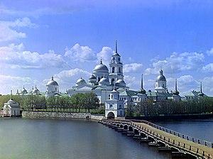 Monastery - Monastery of St. Nilus on Stolbnyi Island in Lake Seliger near Ostashkov, Russia, ca. 1910