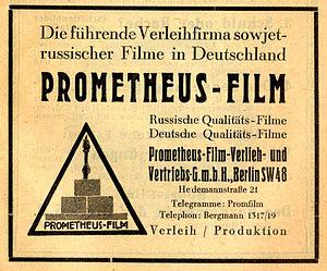 Mezhrabpomfilm - 1928 ad for the Prometheus production division
