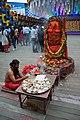 Pujari Worships Shiva Linga and Yoni - Durga Puja Pandal Area - Chetla Agrani Club - Kolkata 2015-10-21 6412.JPG