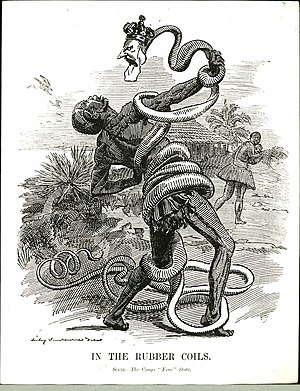 Famine - A 1906 Punch cartoon depicting King Leopold II as a rubber vine entangling a Congolese man.