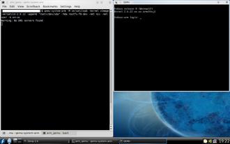 QEMU - QEMU booted into the ARM port of Fedora 8