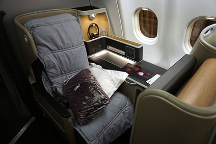 Qantas business class suite (Skybed 3) on all Boeing 787 and Airbus A330-300 aircraft. QantasA330businessclass.JPG