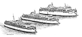 V-class ferry - A drawing showing what Queen of Vancouver looked like when she was built (bottom), after being stretched (center), and after the upper car deck was added (top).
