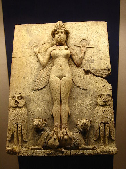 The Queen of the Night relief. The figure could be an aspect of the goddess Ishtar, Babylonian goddess of sex and love. Queen of the Night (Babylon).jpg