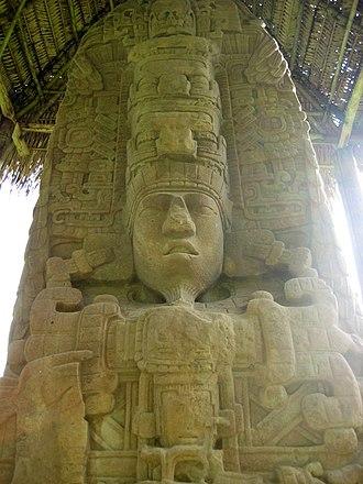 Maya civilization - Stela D from Quiriguá, representing king K'ak' Tiliw Chan Yopaat