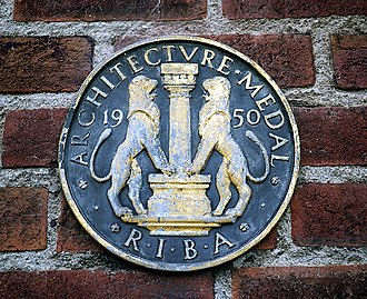 Royal Institute of British Architects - RIBA plaque on Whitla Hall, Queen's University Belfast