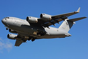 RAAF Base Townsville - RAAF Boeing C-17 Globemaster III at RAAF Base Townsville in 2010.