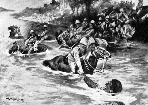 RESCUING A DROWNING TROOPER OF THE 13TH HUSSARS NEAR THE FERRY CROSSING