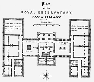 Royal Observatory, Cape of Good Hope - Plan of the Royal Observatory building, ca 1840.