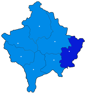 Localisation du district de Gjilan/Gnjilane au Kosovo